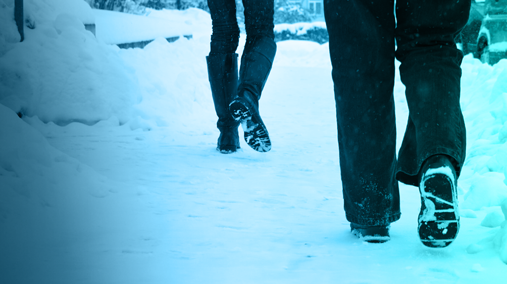 People walking on snowy ground